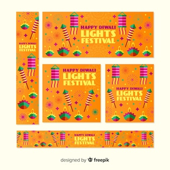 Set of diwali banners with lights