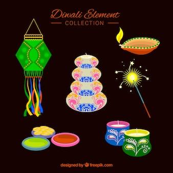 Set of diwali elements