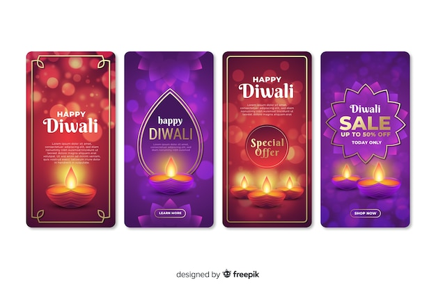 Set of diwali instagram stories
