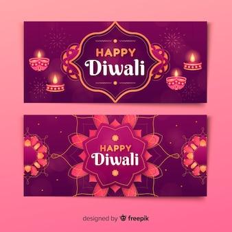 Set of diwali web banners