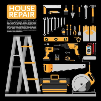 Set of diy home repair working tools infographic