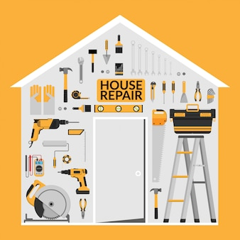 Set of diy home repair working tools under roof in home shape
