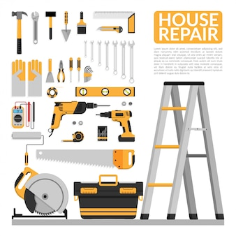 Set of diy home repair working tools