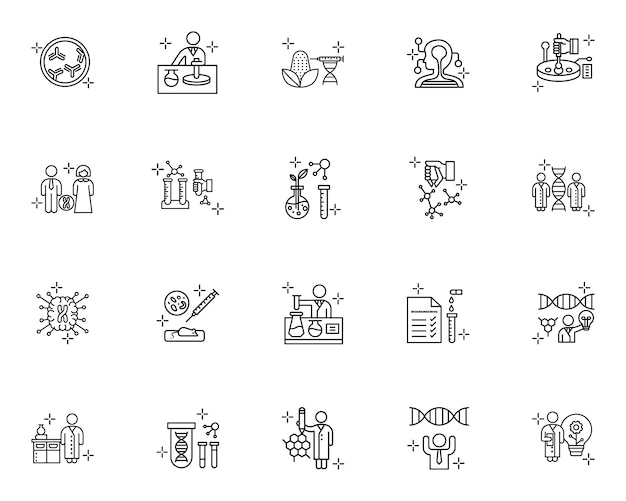 Set of dna science outline icons