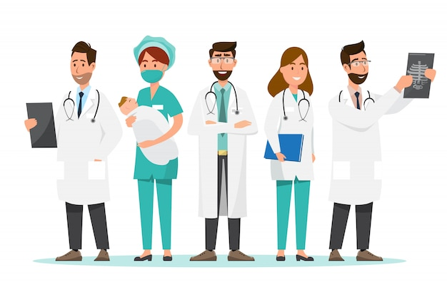 Set of doctor cartoon characters. medical staff team concept