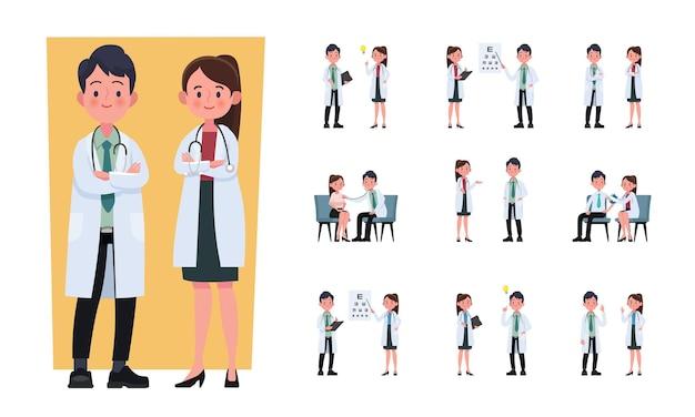 Set of doctor cartoon characters
