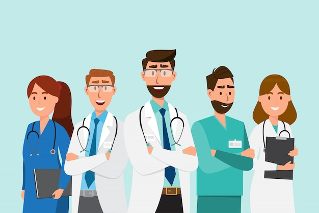 Set of doctor cartoon characters.