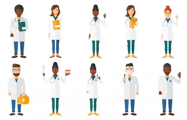 Set of doctor characters and patients.
