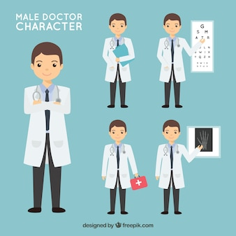 Set of doctor doing different activities