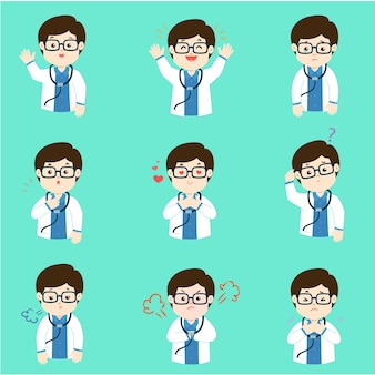 Set of doctor face expression cartoon vector.