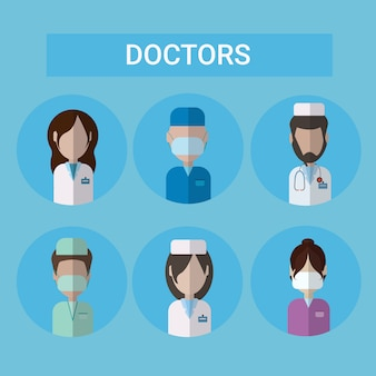 Set of doctor icons clinic medical workers profile collection