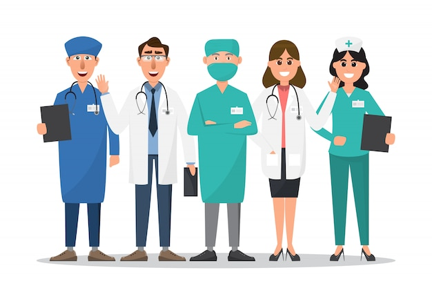 Set of doctor and nurse cartoon characters