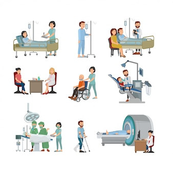 Set of doctor and patient on hospital illustration