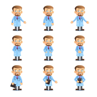 Set of doctor in various poses