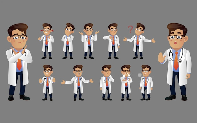 Set of doctor with different emotion