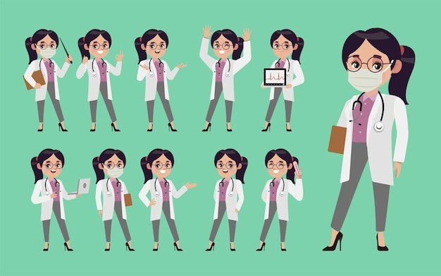 Set of doctor with different poses