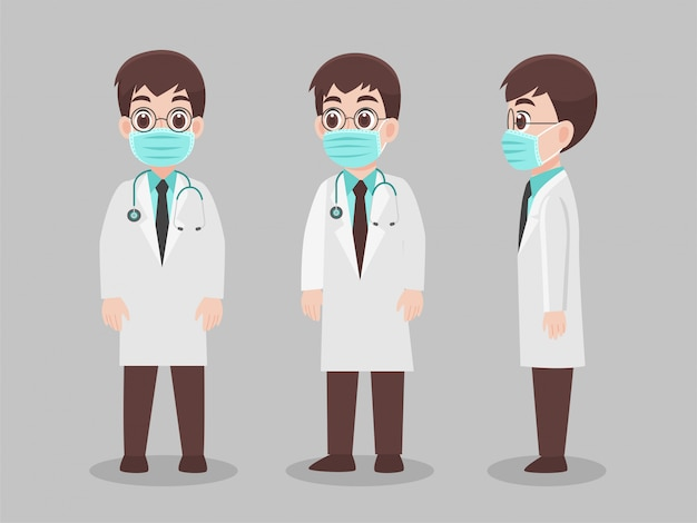 Set of doctors character wearing protective medical mask for prevent virus