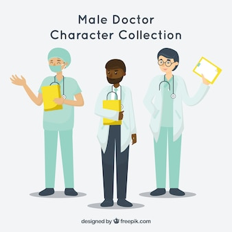 Set of doctors and surgeo with clipboards