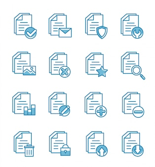 Set of document icons with outline style.