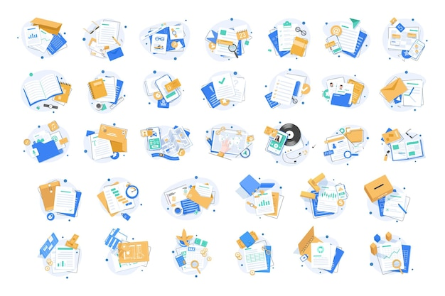 Set of document iconspaper iconfolder icons setflat design icon vector illustration