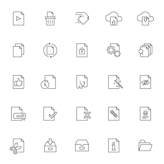 Set of document management icons with simple outline