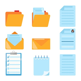 Set of document related symbol. folder, summary, email, spiral notebook, notes,