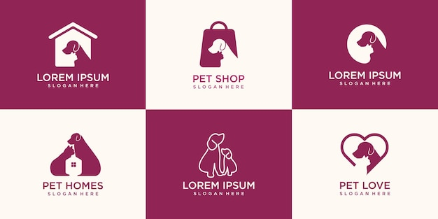 Set of dog and cat logo design.