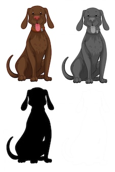 Set of dog character