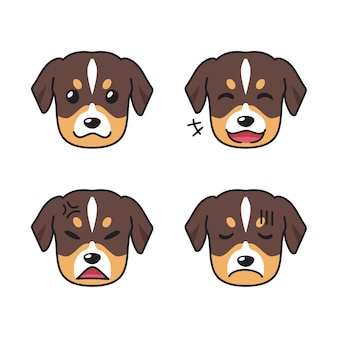 Set of dog faces showing different emotions