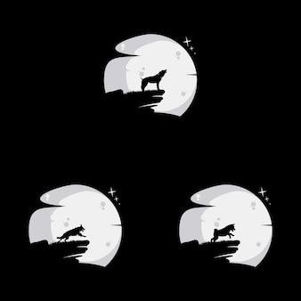 달 개념 로고 디자인으로 개를 설정