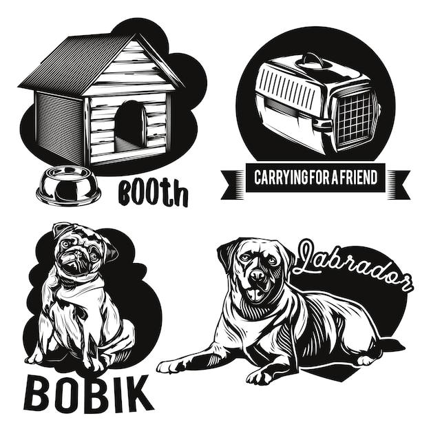 Set di cani e emblemi di case degli animali