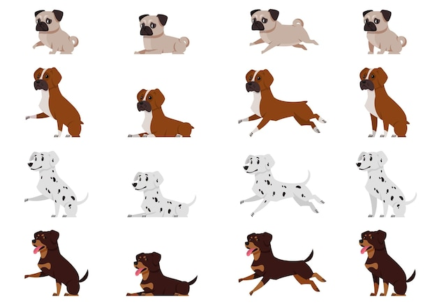 Set of dogs in different poses. pug, boxer dog, dalmatian and rottweiler in cartoon style.