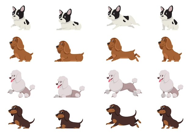 Set of dogs in different poses