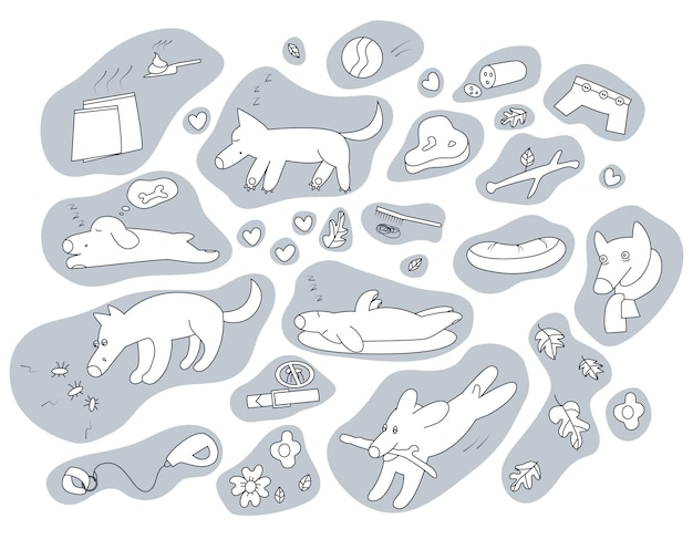 Set of dogs running napping exploring feeling sick and pet accessories elements for dogs care
