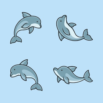 Set of dolphin logo design template