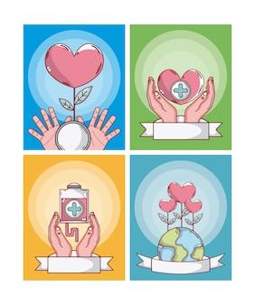 Set of donate blood cards cartoons