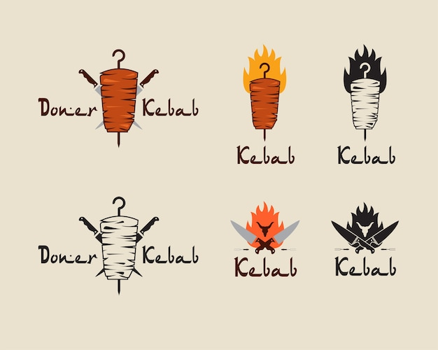 Set of doner kebab logo templates