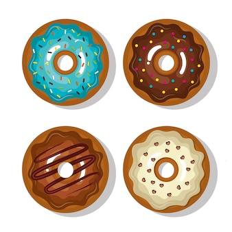 Set donuts blue, white and chocolate sweet isolated