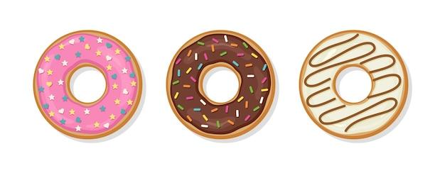 도넛을 설정합니다. 글레이즈드 도넛의 상위 뷰입니다. 벡터 일러스트 레이 션.
