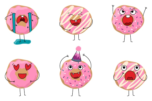 Set of donuts with different emotions