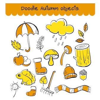 Set of doodle autumn object in orange and yellow color.