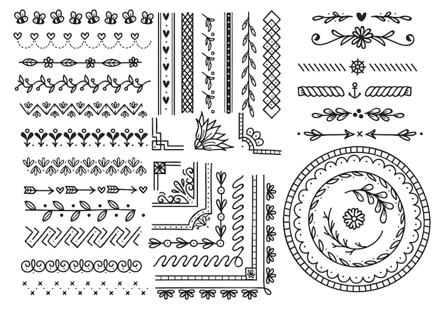 Set of doodle borders
