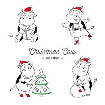 Set of doodle christmas cows in various poses isolated