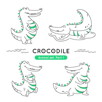 Set of doodle crocodiles in various poses isolated