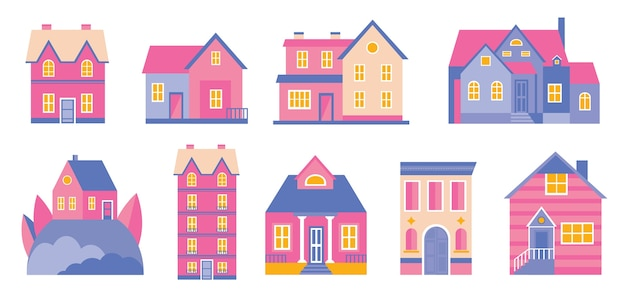 Set of doodle cute houses. cozy cartoon hand drawn buildings in retro pastel colors