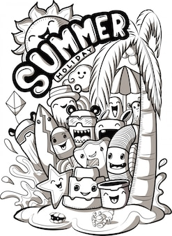 Set of doodle cute monsters with summer elements