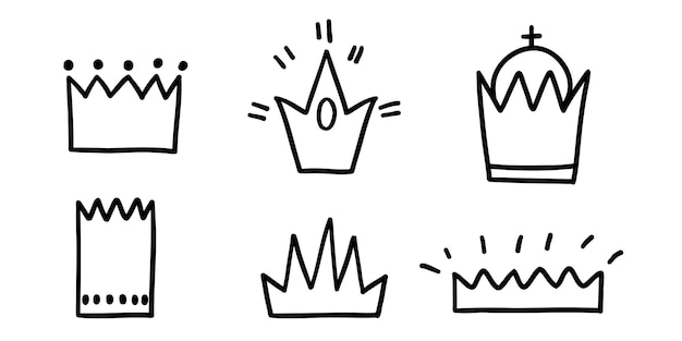 Set doodle drawn crowns of different shapes and sizes. vector illustration on white with black line.