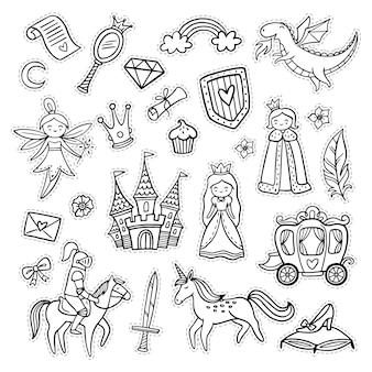Set of doodle fairytale objects