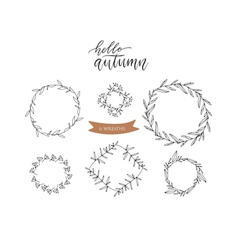 Set of doodle floral line leaf branches circle frames. hansd drawn sketch illustration