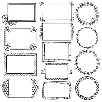 Set of doodle frames for bullet journal, notebook, diary and planner isolated on white background